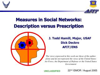 Measures in Social Networks: Description versus Prescription