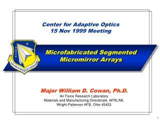 Center for Adaptive Optics 15 Nov 1999 Meeting