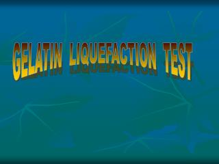 GELATIN  LIQUEFACTION  TEST