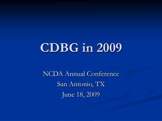 CDBG in 2009