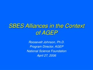 SBES Alliances in the Context of AGEP