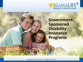 Government Sponsored Disability Insurance Programs