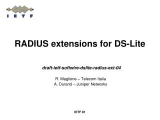 RADIUS extensions for DS-Lite