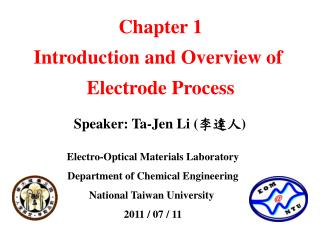 Electro-Optical Materials Laboratory Department of Chemical Engineering