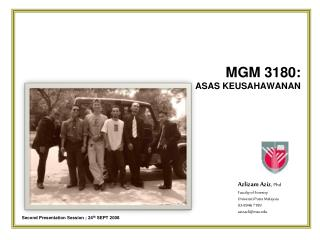 MGM 3180:  ASAS KEUSAHAWANAN