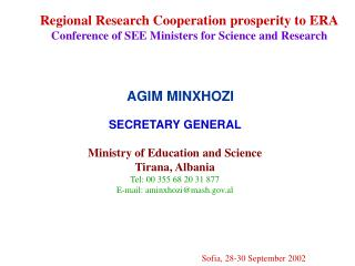 Regional Research Cooperation prosperity to ERA