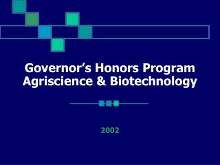 Governor's Honors Program Agriscience & Biotechnology