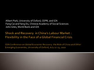 Shock and Recovery  in China s Labour Market : Flexibility in the Face of a Global Financial Crisis  CEA Conference on G