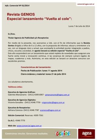 """Revista  GENIOS Especial lanzamiento """"Vuelta al cole"""":"""
