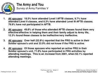 The Army and You Survey of Army Families V