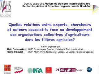 Dans le cadre des  Ateliers de dialogue interdisciplinaires