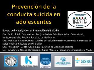 Prevención de la conducta suicida en adolescentes