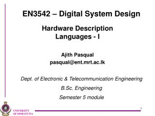 EN3542 � Digital System Design