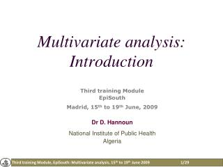 Multivariate analysis : Introduction