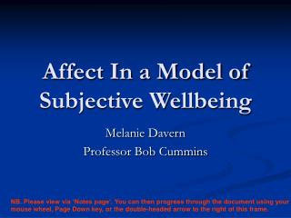 Affect In a Model of Subjective Wellbeing