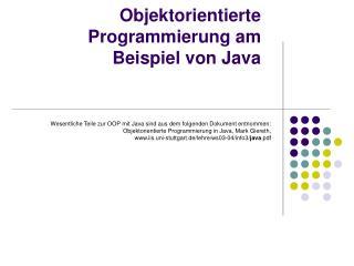 Objektorientierte Programmierung am Beispiel von Java