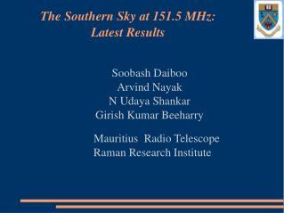 Soobash Daiboo Arvind Nayak N Udaya Shankar Girish Kumar Beeharry      Mauritius  Radio Telescope