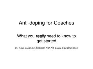 Anti-doping for Coaches