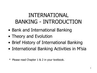 INTERNATIONAL  BANKING - INTRODUCTION