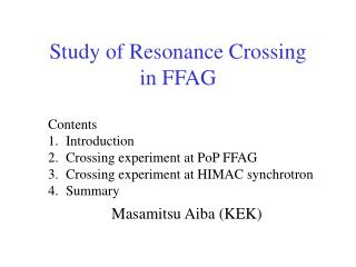 Study of Resonance Crossing  in FFAG