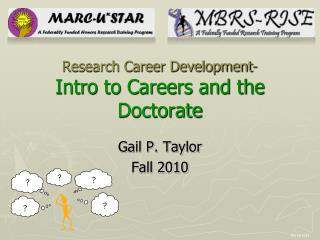 Research Career Development- Intro to Careers and the Doctorate