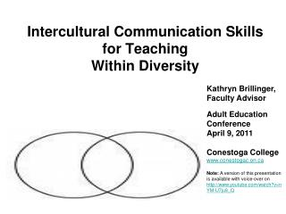 Intercultural Communication Skills  for Teaching  Within Diversity