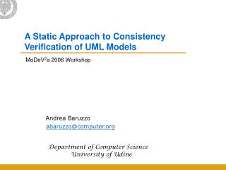 A Static Approach to Consistency Verification of UML Models
