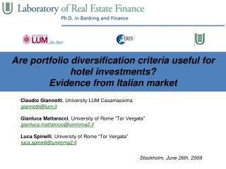 Are portfolio diversification criteria useful for hotel investments? Evidence from Italian market