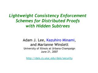Lightweight Consistency Enforcement Schemes for Distributed Proofs  with Hidden Subtrees