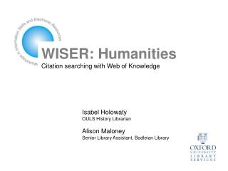 WISER: Humanities Citation searching with Web of Knowledge