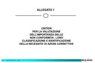 CRITERI PER LA VALUTAZIONE DELL'IMPORTANZA DELLE NON CONFORMITA', LORO