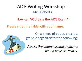 AICE Writing Workshop