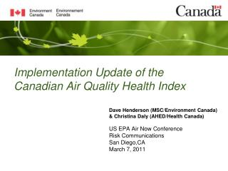 Implementation Update of the Canadian Air Quality Health Index