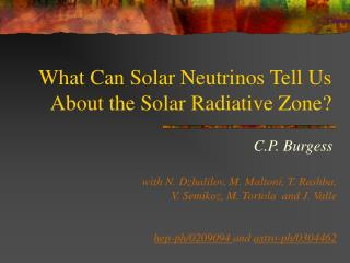 What Can Solar Neutrinos Tell Us About the Solar Radiative Zone?