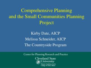 Comprehensive Planning and the Small Communities Planning Project