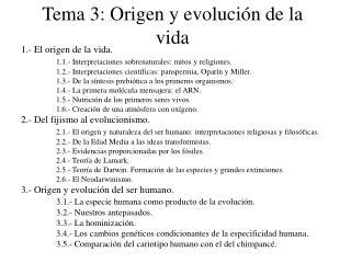 Tema 3: Origen y evolución de la vida