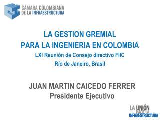 LA GESTION GREMIAL  PARA LA INGENIERIA EN COLOMBIA LXI Reunión de Consejo directivo FIIC