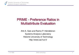 PRIME - Preference Ratios in  Multiattribute Evaluation