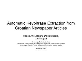 Automatic Keyphrase Extraction from Croatian Newspaper Articles