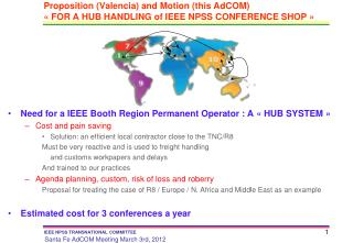 Proposition (Valencia) and Motion (this AdCOM) « FOR A HUB HANDLING of IEEE NPSS CONFERENCE SHOP »