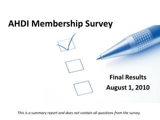 AHDI Membership Survey