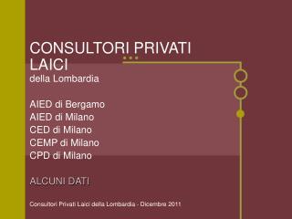 CONSULTORI PRIVATI LAICI della Lombardia AIED di Bergamo AIED di Milano CED di Milano