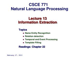 Lecture 13 Information Extraction
