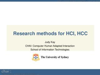 Research methods for HCI, HCC
