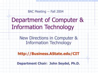 Department of Computer & Information Technology
