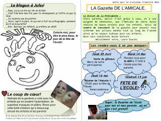 LA Gazette DE L'AMICALE.