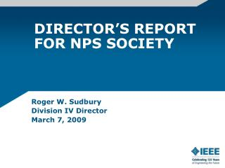DIRECTOR'S REPORT FOR NPS SOCIETY