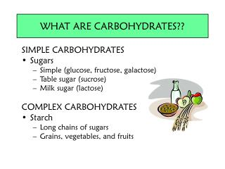 SIMPLE CARBOHYDRATES Sugars Simple (glucose, fructose, galactose) Table sugar (sucrose)