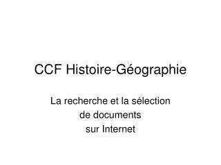 CCF Histoire-G�ographie