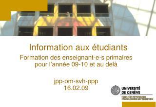 Information aux étudiants